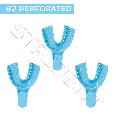 Dental Impression Tray Perforated Autoclavable #2 Large Lower (12 pc) disposable