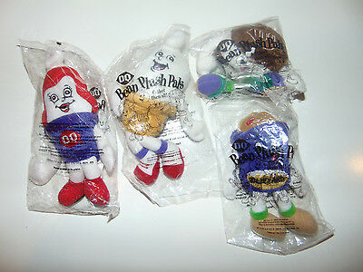 4) DQ Bean Plush Pals Dairy Queen Beanie Toys NEW in Packages 1999 complete set