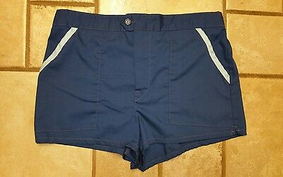 Vintage Men'S Laguna Navy Blue Swim Trunks Suit Sz 34 #2429