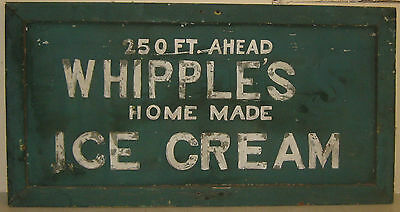 Original Vintage 'WHIPPLES HOME MADE ICE CREAM' Painted Advertising Street SIGN
