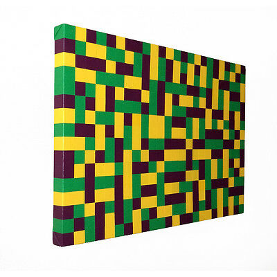 Original Green And Yellow Squares Painting 30x20 Modern Wall Art