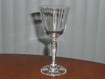 Anitque/vintage Cut Glass Stem Clear Ribbed Wine Glass