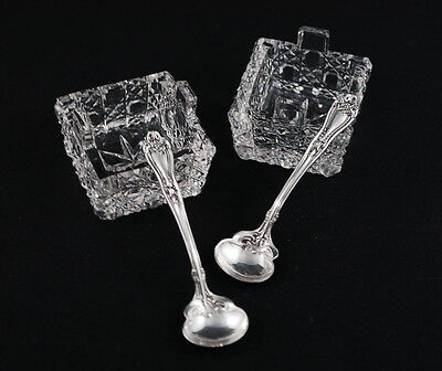 Antique Crystal Salt Cellar Pair w/ Matching Sterling Silver Scallop Spoons