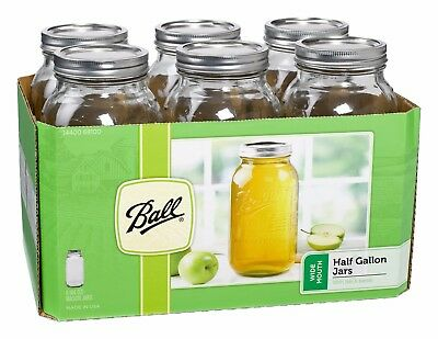 6 x Half Gallon (2 Litre) Wide Mouth Jars and Lids Ball Mason BPA FREE