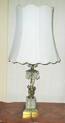 Antique Chandelier Teardrop Crystal Real Glass Lamp Victorian Shade Brass Cherub