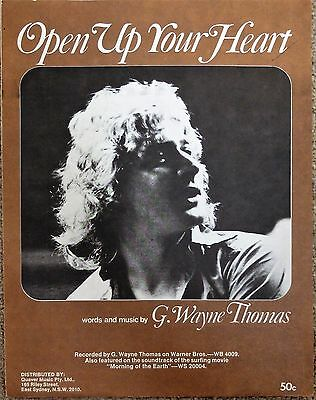 G. WAYNE THOMAS Sheet Music RARE MORNING OF EARTH SURF MOVIE OPEN UP YOUR HEART