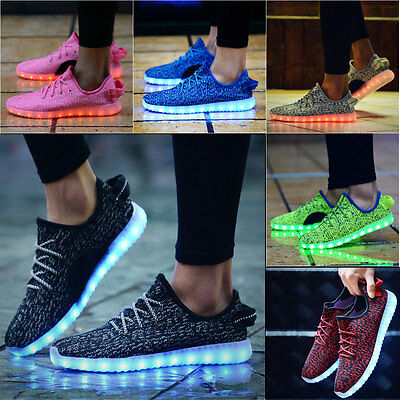 Unisex 7 LED Light Shoes Lace Up Luminous Sportswear Sneaker Casual Couple Shoes