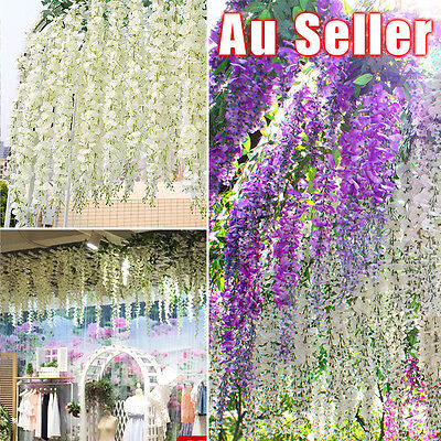 12x Artificial Silk Wisteria Fake Garden Hanging Flower Plant Vine Wedding Décor