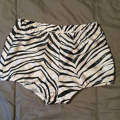 Pizzazz Medium Performance Dance Yoga Booty Shorts Zebra Sparkle Gymnastics
