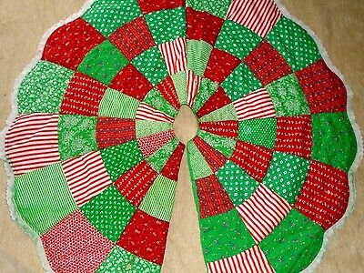 Vintage Quilted Christmas Tree Skirt 44""
