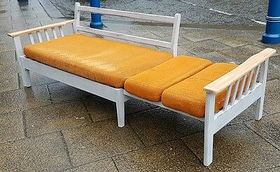 vintage retro mid century blond arm daybed studio sofa