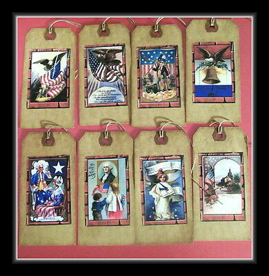 Primitive~vintage Style~july 4th~patriotic~linen Cardstock~gift~hang~tags Special Buy Holiday & Seasonal