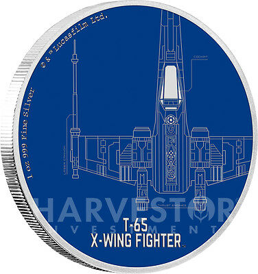 Star Wars Ships: T-65 X-Wing Fighter - 1 Oz. Silver Coin - Ogp Coa - 3Rd In Set