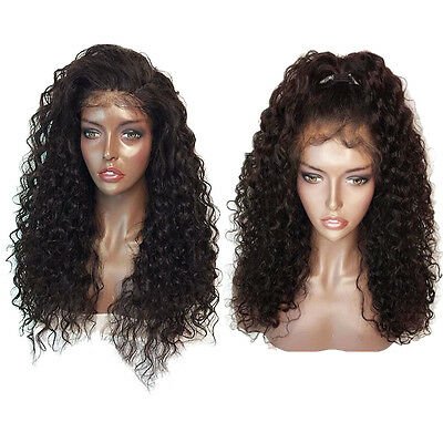Fluffy Long Deep Curly Lace Frontal Synthetic Hair Wigs For Fashion Women Brown