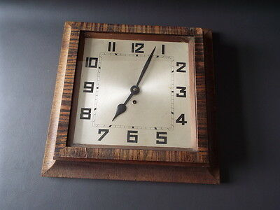 "Vintage Art Deco HAC wooden wall clock for restoration - 13"" square"
