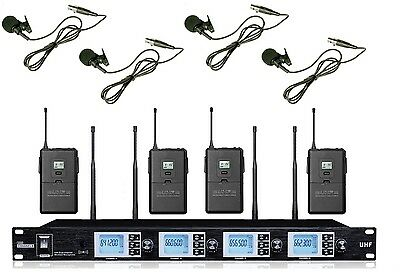 Pro UHF PR-A4200SB 4 x 100 Channel Wireless Lavalier/ Lapel Microphone