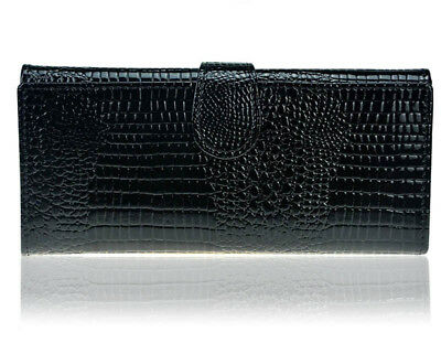Women Bifold Crocodile Leather Clutch Wallet Functional Long Female Coin Purse