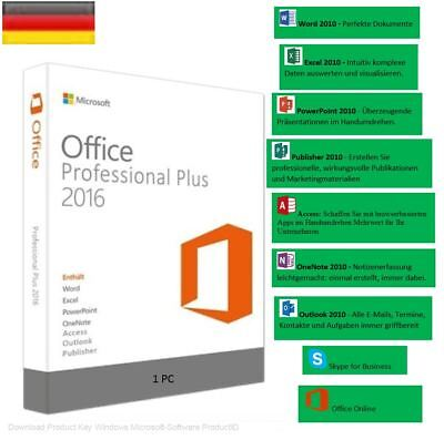 MS Office 2016 Professional Plus Outlook, PDF,Access, Excel Vollversion