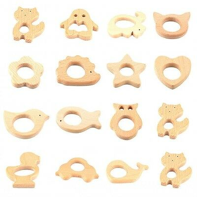 Cute Wooden Teethers Baby Teething Toy Eco-friendly Safe Wood Teething Nursing