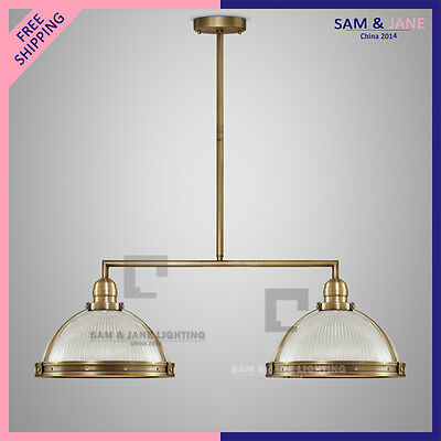 2 Light Brass Chandelier Juxtapose Ceiling Fixture Vintage Home Pendant Light