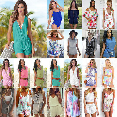 Womens Holiday Summer Playsuit Casual Shorts Beach Party Short Rompers Jumpsuit