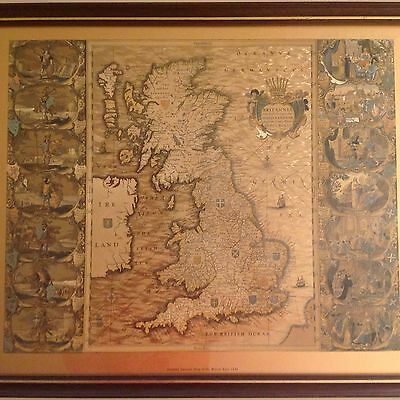Joannes Jansson Map Of The British Isles 1646 Gold Sheet Brown Frame