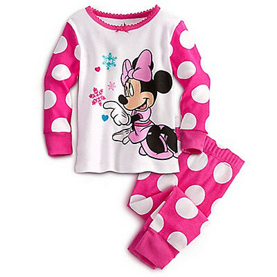 Cute Girls Baby Kids Minnie Mouse Pink Spotty Pj's 6-12 Months
