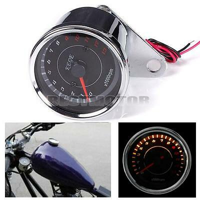 LED Backlight Tachometer Speedometer Tacho Gauge f Motorcycle Bobber Cafe Racer