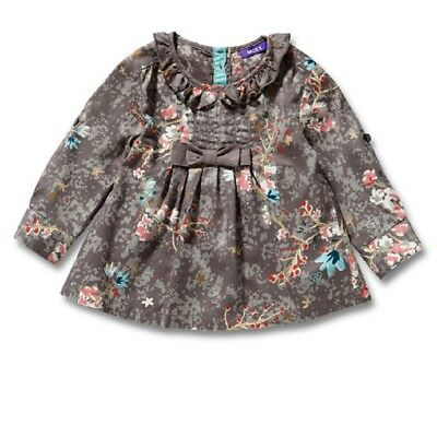 MEXX girls Blouse warm grey with Floral print Size 74 80 86 92