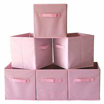 6x Foldable Fabric Storage Bin Box Closet Organizer Kids Toy Cube Container PINK