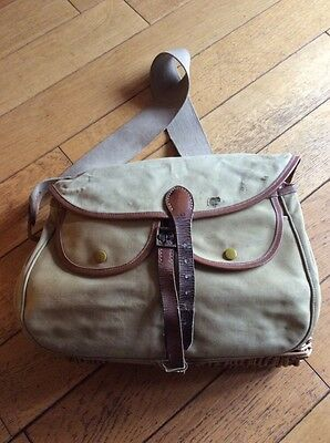 Vintage BRADY Conway wicker,Canvas,Leather Creel fishing Tackle Bag