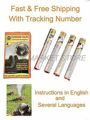 4 x Smoke bomb Professional Blind moles Mole Repellent up to 50 m2 hole Tunnels