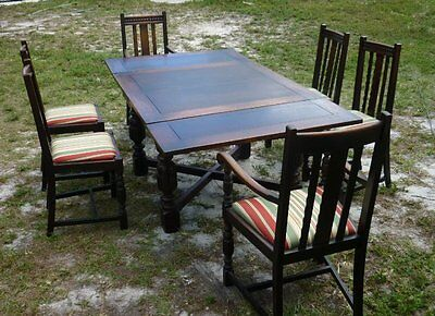 Antique Old Wood 3 Section Dining Room Table 6 Chair Set 17C039