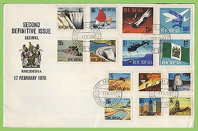 Rhodesia 1970 Second Definitive Issue, Decimal set on First Day Cover