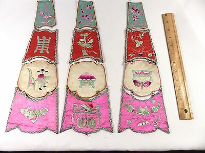 Antique Applique Chinese Rare Set of 3 Heavy Embroidered Silk Decorative 1930s