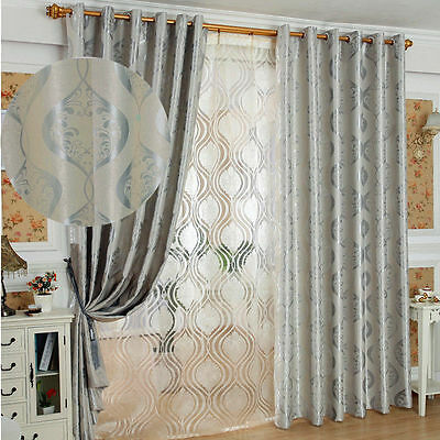 European Style Silver Grey Silky 95% Natural Fabric Blockout Eyelet Top Curtains