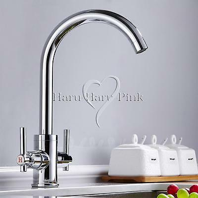 Kitchen Sink Mixer Tap Luxury Modern Chrome Twin Lever Swivel Spout Monobloc