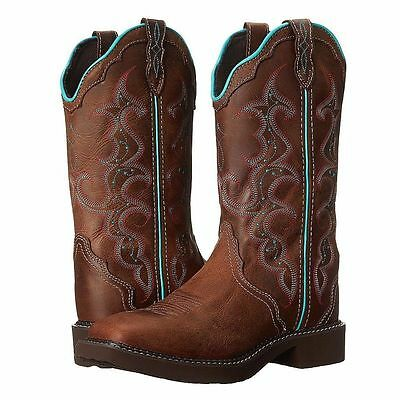 New Women's Justin Gypsy L2900 Western Leather Boots Square Toe Brown Size 9B