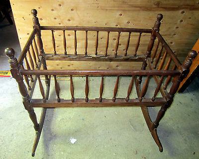"Antique maple Baby Rocking Cradle Crib circa 1830, 42"" L, 38"" H, 24"" W"
