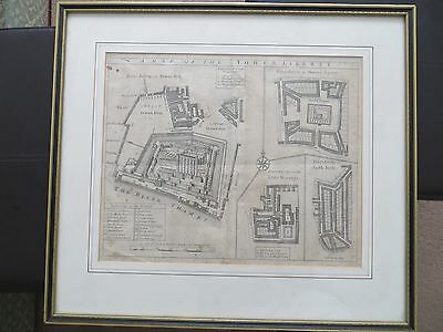 Antique map of the Tower Liberty London UK John Strype's 1755