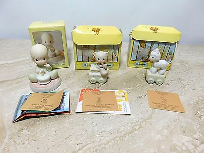 Lot of 3 Precious Moments Birthday Train Ages 0, 1 & Baby's First Birthday Figur