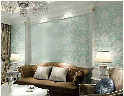 10m Damask Embossed Textured Light Blue Aqua Luxury Wallpaper Roll Home Decor