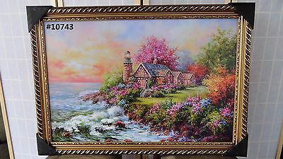 River with Lighthouse Painting Art
