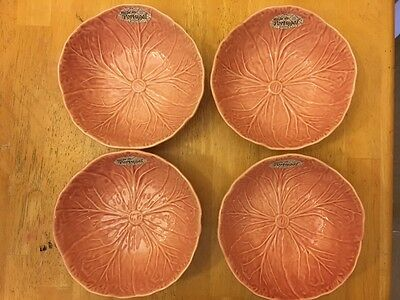 4 San Raphael by Bordallo Pinheiro Pink Cabbage Leaf Soup Cereal Bowls NEW