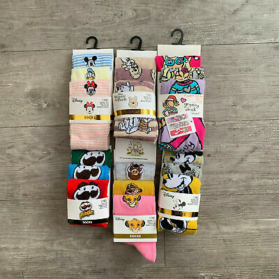 Pack Of THREE 3 Pairs Socks Womens Ladies Casual Character Disney Primark Gift