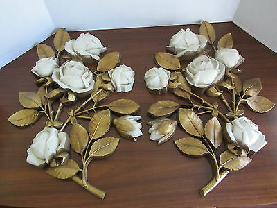 2 - Large Vintage 1973 Syroco Gold Cream Roses Wall Plaque