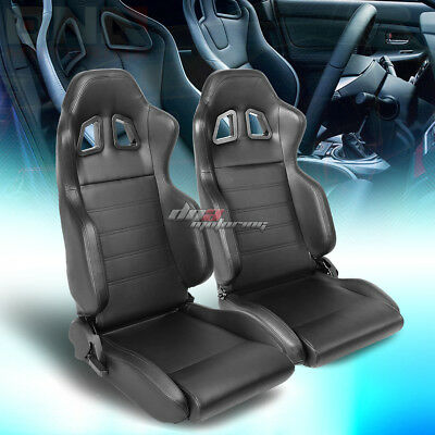 Pair Of Full Reclinable Black Stripe Pvc Leather Sporty Bucket Race Racing Seat