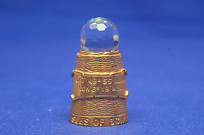 Crystal Ball Top Isles of Scilly Gold Colour Pewter Thimble B/42