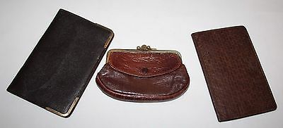 Three Vintage Brown Leather Purses/Wallets