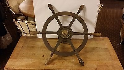 Antique Vintage Brass Boat Ship Steering Wheel Wood Handles With adapter